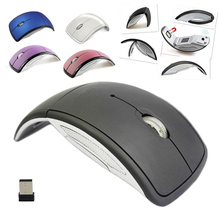 Ultrathin 2.4GHz Foldable Wireless Arc Optical Mouse Mice with Mini USB Receiver for Pad PC Laptop Notebook Computer QJY99(China)