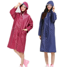 100CM Waterproof Raincoat Dot Ladies Print Raincoat Over Knee With Hood And Packing Pouch Pocket Poncho Coat Rainwear