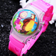 Small Order 10PCS/LOT New Cartoon Girl's Color LED Lighted Martha Children Watches Waterball Flashing Wristwatches Free Shipping