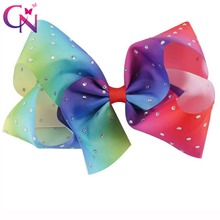 "10 Pcs/lot 7"" Rhinestone Covered Rainbow Ribbon Bow With Clip For Girls Kids Teens Large Crystal Hairgrips Hair Accessories"
