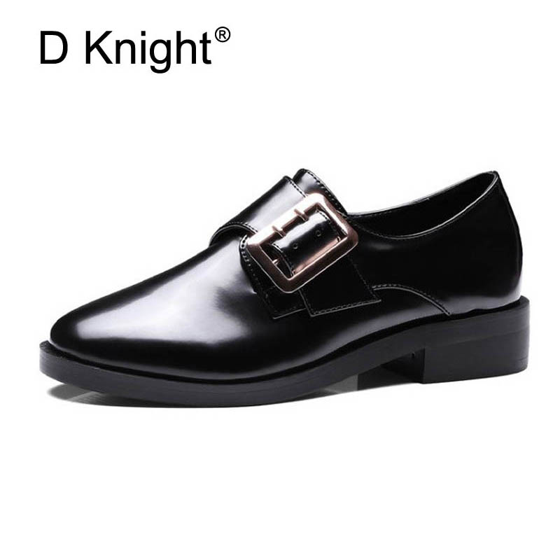 Womens Oxfords 2018 New Metal Buckle Hook &amp; Loop Platform Loafers Shoes Woman Slip On Casual Creepers Flats Women Brogue Shoes<br>