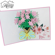 3D Flower Greeting Card Pop Up Paper Cut Postcard Happy Birthday Music LED Lighting Carving Art Craft Invitations Thank You Card