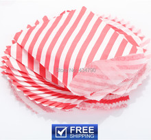 200pcs Paper Christmas Party Favor Bags Red Diagonal Stripe-Birthday Buffet Candy Treat Gift Goodie Bag-Choose Your Colors(China)