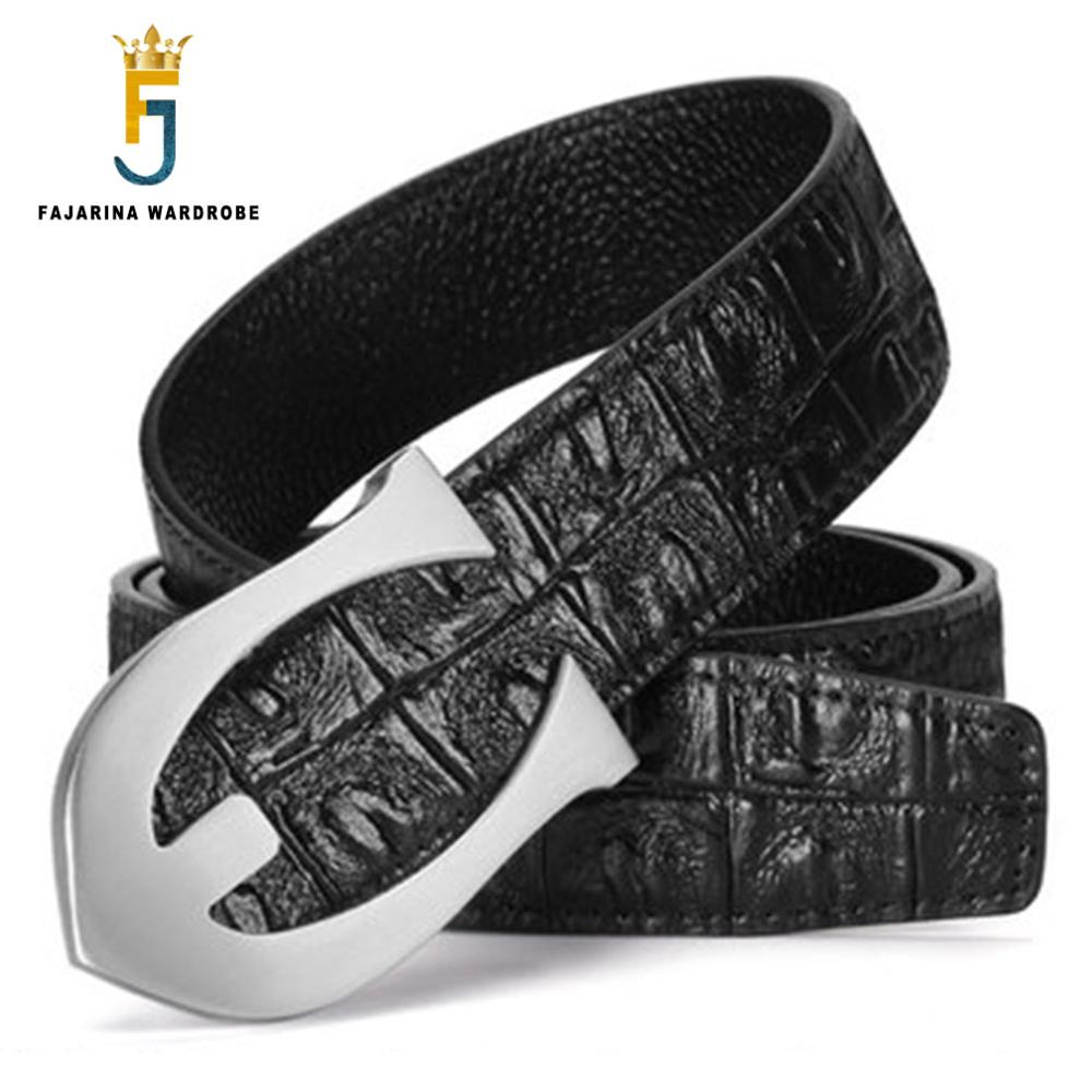 FAJARINA Top Quality Men's Fashion Business Crocodile Pattern Genuine Leather Belt Letter Brass Smooth Buckle for Men LUFJ690