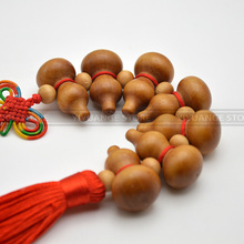 Feng Shui Peach Wood wu lou The Chinese knot miniature Gourd craft Wood Amulet home decoration accessories  gift