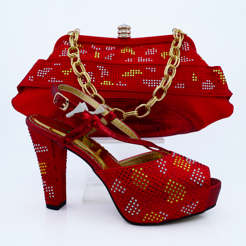 Special offer Italy matching green shoe and bag set with shinning stones 8cm high heel size38-43 H16012821(China)