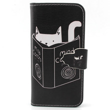 For iPhone 5C Case - Funny Design Cat Reading for iPhone 5C PU Leather Credit Card Holder Flip Magnet Stand Cover Leather case(China)
