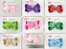 "50pcs 4"" christmas hair accessories kids bows flower  girls  cherry grosgrain bows flower Bowknot  hair clips HD3272"