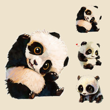 Pyrography lovely cute panda Heat Transfer Iron On Patches For Clothes DIY T-Shirt Clothing Deco