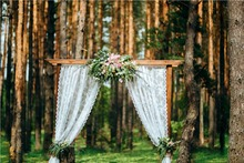 7x5FT Daylight Bokeh Forest Trunks Pink Flowers Arch Curtain Door Custom Photo Background Studio Backdrop Vinyl 220cm x 150cm(China)