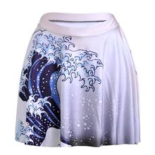 White Waves Design Women Sexy Pleated Skirts Tennis Bowling Bust Shorts Skirts High Waist Female Fitness Sport Apparel A Style