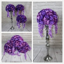 sweet new hom table centerpiece Artificial flowers balls wedding purple road lead flower hydrangea and Dahlia Rose(China)