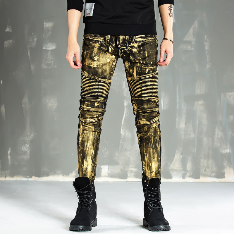 High-end paint gold-coated mens trousers fashion locomotive jeans mens self-stretch B012Одежда и ак�е��уары<br><br><br>Aliexpress