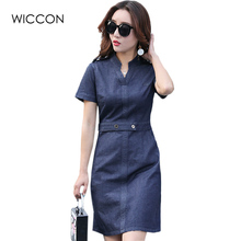 2017 Summer Jean Dresses Sexy Women Denim Shirt Dress Woman Slim Casual Club Bodycon Jeans Women blue dress Clothes WICCON
