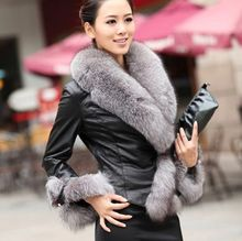 Women's Faux Sheepskin Outer Coat Jacket Fox Fur Collar Leather Grass(China)