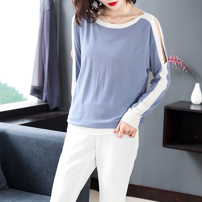 Autumn Winter Women Fashion New Patchwork Casual Knitted Pullover Long Sleeved Shirts