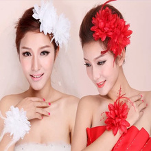 New Flower Feather Bead Corsage Hair Clips Fascinator Bridal Hairband Brooch Pin Hot Popular Hair Accessories(China)