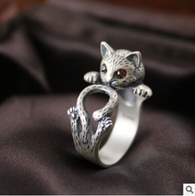2016 new arrival high quality retro style cute cat Thai silver 925 sterling silver ladies`adjustable size rings jewelry gift(China)