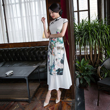 Charming Retro Women Chiffon Lined Silk Short Sleeve Audrey Cheongsam Chinese Traditional High-slit Long Qipao(China)