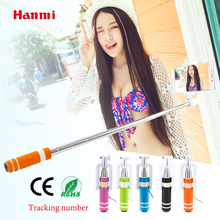 Hanmi New Universal Selfie Stick Monopod With Button Wired Handle Selfie Monopod For iPhone Android Samsung Huawei Xiaomi Sticks