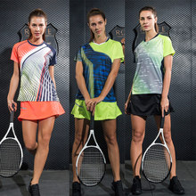 New Women Tennis Shirt Set Badminton Clothing , Tennis set , Table Tennis Clothes Breathable Sports Shirt+Tennis Skirt Suit wear(China)