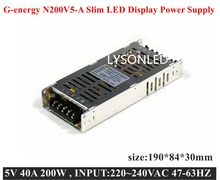 LYSONLED LED display Switching Power Supply Ultra-thin N200V5-A 5V 40A 200W ,Support 6-12 pcs LED Modules Per 200W SPU(China)