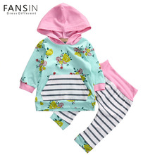 FANSIN Brand 2017 Autumn New Baby Boy Clothes Children Baby Girls Long Sleeve Floral Hooded Tops Stripe Pants 2Pcs Clothing Sets(China)