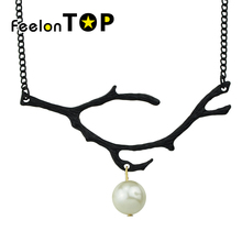 New Inspiration Design Fashion Simple Branch Necklace Gold-Color  Silver Color Black Color Necklace