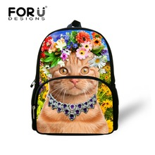 FORUDESIGNS Small School Bag for Baby Kids,Animal Cat Schoolbag for Girls,Cute 3D Children 12 Inch Book bag,backpack for Girls
