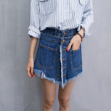 Women Shorts Skirts Fake Two Slim Denim Short Jeans Female 2017 New Summer(China)