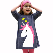 Girls Unicorn Cute Dress Navy Blue Pullover Toddler Dress Summer Wear Cotton Short Dresses Half Sleeve Girl Party Casual Dresses(China)