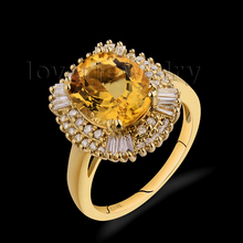 Hot Sale Vintage Solid 14Kt Yellow Gold Diamond Yellow Citrine Ring,Wed Ring For Women Oval 9x11mm SR002