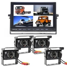 DIYSECUR 10 Inch Split Quad Display Rear View Monitor + 4 x CCD Night Vision Camera for Car Truck Bus Video Surveillance System