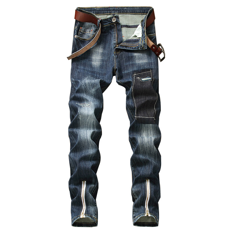 MORUANCLE Fashion Men's Ripped Jeans With Ankle Zipper Hi Street Distressed Denim Trousers Pants For Male Washed Plus Size 30-42