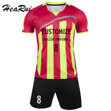 Men Striped Soccer Jerseys 2016 2017 pro Soccer Uniform survetement Short Sleeved Football Set maillot de foot Customize Logo