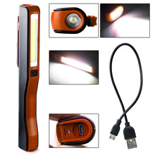 Mini Inspection Lamp COB LED USB Rechargeable Magnetic Pen Rotation Clip Hand Torch Flashlight Work Lights Red/Black/Orange(China)