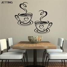 JETTING Double Coffee Cups Wall Stickers Room Decoration Vinyl Art Wall Decals Kitchen Home Decoration Accessories(China)