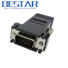 VGA RGB 15pin Male Extender To Lan Cat5 Cat5e RJ45 Ethernet Female Adapter adaptor connector Black