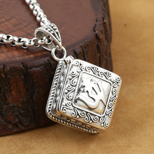 Handcrafted OM Ghau 925 Silver Tibetan OM Gau Box Pendant vintage sterling silver Buddhist Prayer Box Pendant(China)