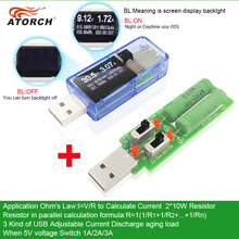 ATORCH USB tester + load DC Digital voltmeter amperimetro power bank charger indicator car voltage current meter doctor detector