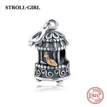 100% Sterling Silver 925 Cute Bird Cage Beads Fit Original Pandora Bracelet Charms Authentic Pendant DIY Jewelry Making For Men(China)