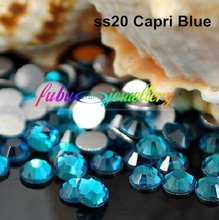 Free Shipping! 1440pcs/Lot, ss20 (4.8-5.0mm) Blue Zircon Flat Back Non Hotfix Glue On Nail Art Rhinestones(China)