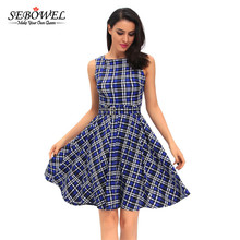 SEBOWEL 2017 Summer Party Dress Vintage Check Print Swing Dress in Red Ladies Plaid Print Sexy Roupas Femininas Swing Dress