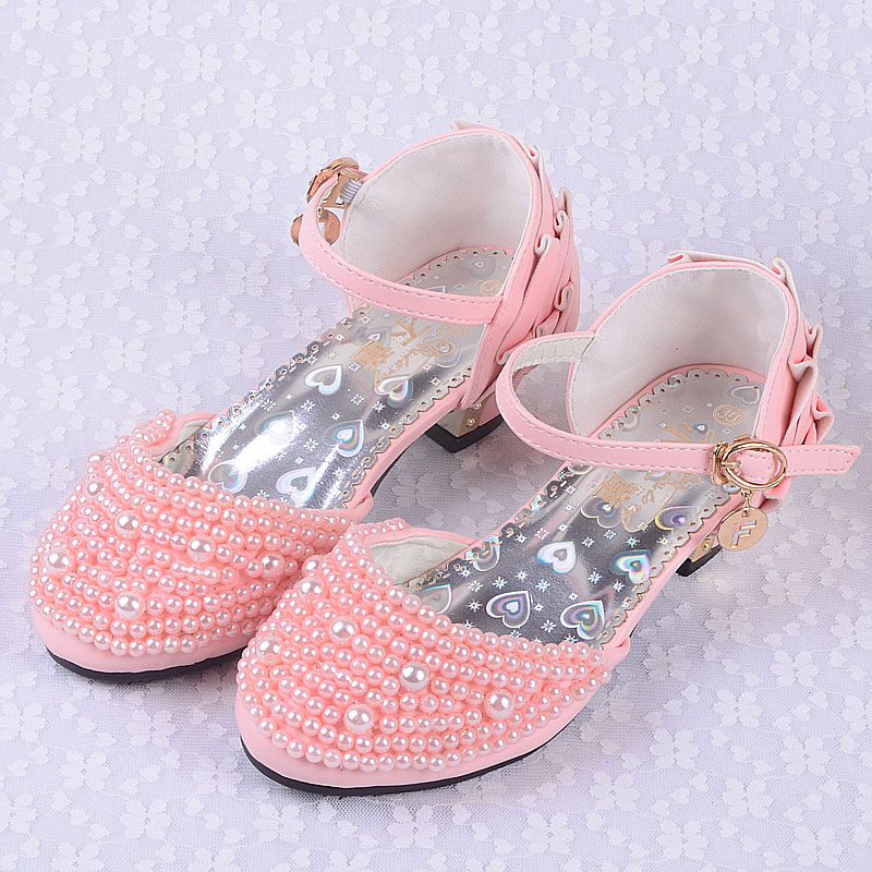 Children summer shoes with pearl for girls ,2013 girls leather sandals with rhinestone  girls princess high-heeled shoes  child<br><br>Aliexpress