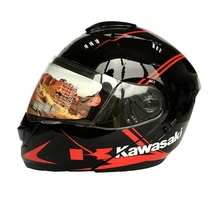 1pc Double Lens Kawasaki Brand Full Face Motorcycle Helmet Racing Casco Motor Casque 2Colors (M\L\XL\XXL)
