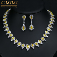 Gorgeous Pear Drop Yellow Crystal And Cubic Zirconia Party Jewelry Set For Women Luxury Wedding Costume Jewellery T267