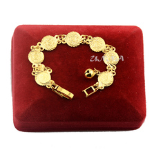 Girls Kids Babies Women Yellow Gold Color Filled Heart Charm Coin Bracelet Chain
