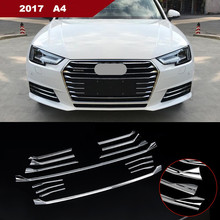 14pcs Front Bumper Middle Grill Grids Trim Strips Car Styling Exterior Modification Accessories Sticker For Audi A4 2016-17