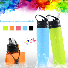 600ML Creative portable Foldable Food Grade Silicone drink Sport Water Bottle with straw Camping Travel my bicycle bottle ZM(China)