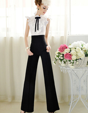Hot Marketing  New Women Casual High Waist Flare Wide Leg Long Pants Palazzo Trousers Jul15 Drop Shipping